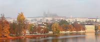 The Vltava River looking across to the Lesser quarter or Mala Strana, with Prague Castle, 10th - 14th centuries, the largest ancient castle in the world, and St Vitus cathedral, a Gothic Roman catholic cathedral founded 1344, Prague, Czech Republic. The historic centre of Prague was declared a UNESCO World Heritage Site in 1992. Picture by Manuel Cohen