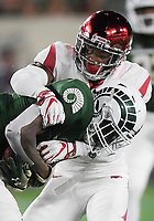 NWA Democrat-Gazette/CHARLIE KAIJO Arkansas Razorbacks defensive back Santos Ramirez (9) tackles Colorado State Rams wide receiver Preston Williams (11) during the third quarter of a football game, Saturday, September 8, 2018 at Colorado State University in Fort Collins, Colo.