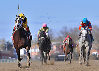 Broadway's Alibi, ridden by Javier Castellano, wins the Comely Stakes at Aqueduct Racetrack in Ozone Park, New York on Wood Memorial Day on April 7, 2012.