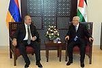 Palestinian President Mahmoud Abbas, meets with Armenian President, in the West Bank city of Bethlehem, on January 24, 2020. Photo by Thaer Ganaim