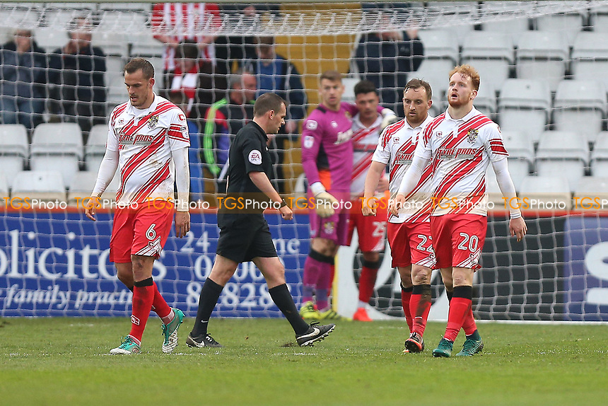 Frustration for Stevenage players as Accrington go 2-0 ahead during Stevenage vs Accrington Stanley, Sky Bet EFL League 2 Football at the Lamex Stadium on 6th May 2017