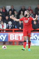 Joe McNerney of Crawley Town (22) is frustrated in the goaless draw  during the Sky Bet League 2 match between Crawley Town and Accrington Stanley at Broadfield Stadium, Crawley, England on 22 October 2016. Photo by Edward Thomas / PRiME Media Images.