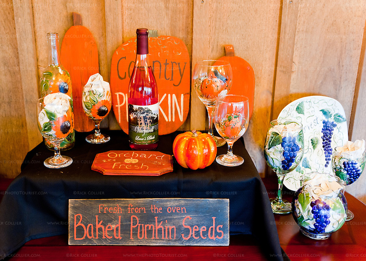 Hand-made signs and painted glassware for sale at DeVault Family Vineyards.