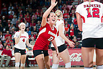 Wisconsin Badgers Kim Kuzma (2) celebrates during an NCAA volleyball match against the Michigan Wolverines at the Field House on October 30, 2010 in Madison, Wisconsin. Michigan won the match 3-1. (Photo by David Stluka)