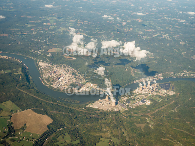 Beaver Valley Nuclear Generation Station on the Ohio River and across from Midland west of Pittsburgh, Pennsylvania, from a window seat above.