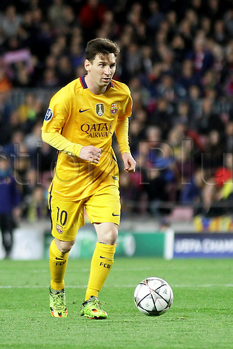 05.04.2016 Nou Camp, Barcelona, Spain. Uefa Champions League Quarter-finals 1st leg. FC Barcelona against Atletico de Madrid.  Messi in action during the match