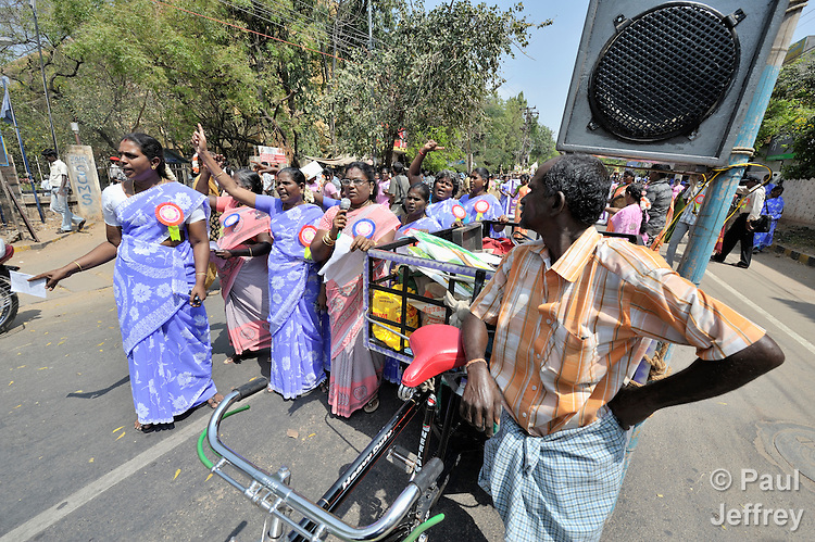 Participants in a march and rally celebrating International Women's Day in Madurai, a city in Tamil Nadu state in southern India.