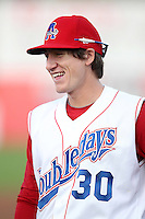 Auburn Doubledays infielder Mills Rogers #30 before game one of the NY-Penn League Championship Series against the Staten Island Yankees at Falcon Park on September 12, 2011 in Auburn, New York.  Staten Island defeated Auburn 9-2.  (Mike Janes/Four Seam Images)
