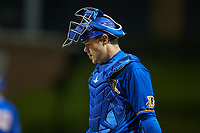 Durham Bulls catcher Mac James (28) on defense against the Gwinnett Braves at Durham Bulls Athletic Park on April 20, 2019 in Durham, North Carolina. The Bulls defeated the Braves 3-2 in game two of a double-header. (Brian Westerholt/Four Seam Images)