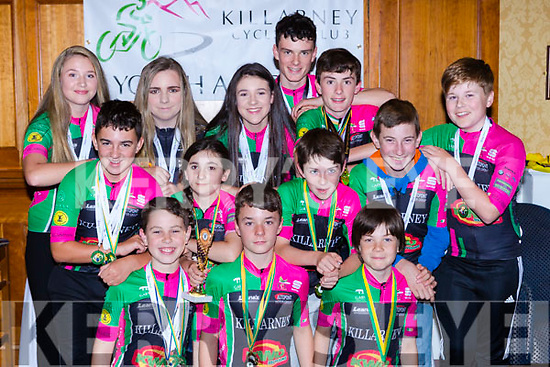 Killarney Cycling club members who were honoured at the clubs awards night in the Dromhall Hotel on Friday night front row l-r: Stefan Caulfield-Dreier, Louis Steadman-Murphy, Bryan Hanafin. Middle row: Ethan Slattery, Shayna Daly, Calum Steadman, Lorcan Daly, Adam Neary. Back row: Almha Kissane, Sarah mcGrath, Tara Kissane, Patrick Galvin, and Shane Galvin