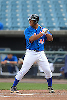 First baseman Bobby Bradley (44) of Harrison Central High School in Gulfport, Mississippi playing for the New York Mets scout team during the East Coast Pro Showcase on August 1, 2013 at NBT Bank Stadium in Syracuse, New York.  (Mike Janes/Four Seam Images)