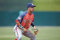 Hagerstown Suns third baseman Luis Garcia (7) on defense against the Kannapolis Intimidators at Kannapolis Intimidators Stadium on May 6, 2018 in Kannapolis, North Carolina. The Intimidators defeated the Suns 4-3. (Brian Westerholt/Four Seam Images)