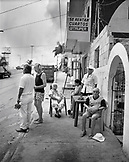 MEXICO, Maya Riviera, Yucatan Peninsula, street scene in the town of Akumal (B&W)