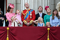 Catherine Duchess of Cambridge, Princess Charlotte, Prince George, Prince William, Peter &amp; Autumn Phillips; Savanah &amp; Isla Phillips on the balcony of Buckingham Palace following the Trooping of the Colour Ceremony celebrating the Queen Elizabeth II's official birthday. London, UK. <br /> 17 June  2017<br /> Picture: Steve Vas/Featureflash/SilverHub 0208 004 5359 sales@silverhubmedia.com