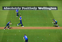 Brendon McCullum (left) and Martin Guptill sneak a single during the ICC Cricket World Cup one day pool match between the New Zealand Black Caps and England at Wellington Regional Stadium, Wellington, New Zealand on Friday, 20 February 2015. Photo: Dave Lintott / lintottphoto.co.nz