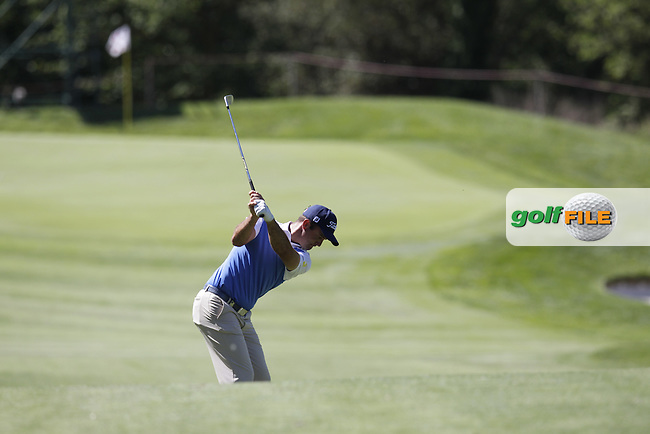 Ricardo Santos (POR) plays his 2nd shot on the 10th hole during Thursday's Round 1 of the 2014 Open de Espana held at the PGA Catalunya Resort, Girona, Spain. Wednesday 15th May 2014.<br /> Picture: Eoin Clarke www.golffile.ie