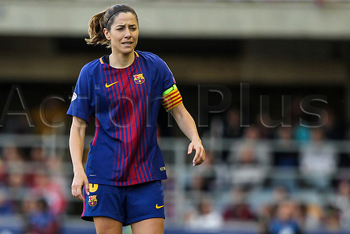 28th March 2018, Mini Estad, Barcelona, Spain; Womens Champions League football, quarter final, 2nd leg, Barcelona Women versus Lyon Women; Vicky Losada of FC Barcelona watches play take shape