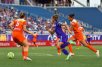 Orlando, FL - Thursday June 23, 2016: Alex Morgan, Poliana Barbosa during a regular season National Women's Soccer League (NWSL) match between the Orlando Pride and the Houston Dash at Camping World Stadium.