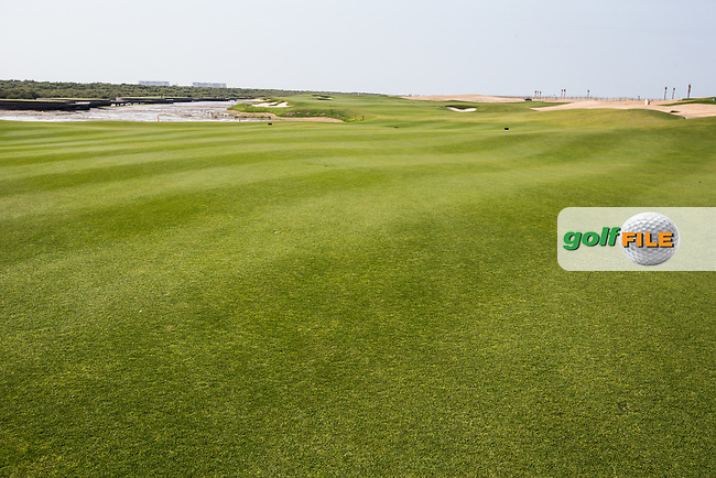 View of the 12th fairway at Al Zorah Golf Club, Dubai, United Arab Emirates.  26/01/2016. Picture: Golffile | David Lloyd<br /> <br /> All photos usage must carry mandatory copyright credit (&copy; Golffile | David Lloyd)