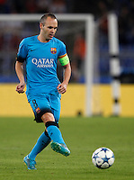 Calcio, Champions League, Gruppo E: Roma vs Barcellona. Roma, stadio Olimpico, 16 settembre 2015.<br /> FC Barcelona&rsquo;s Andres Iniesta in action during a Champions League, Group E football match between Roma and FC Barcelona, at Rome's Olympic stadium, 16 September 2015.<br /> UPDATE IMAGES PRESS/Riccardo De Luca<br /> <br /> *** ITALY AND GERMANY OUT ***