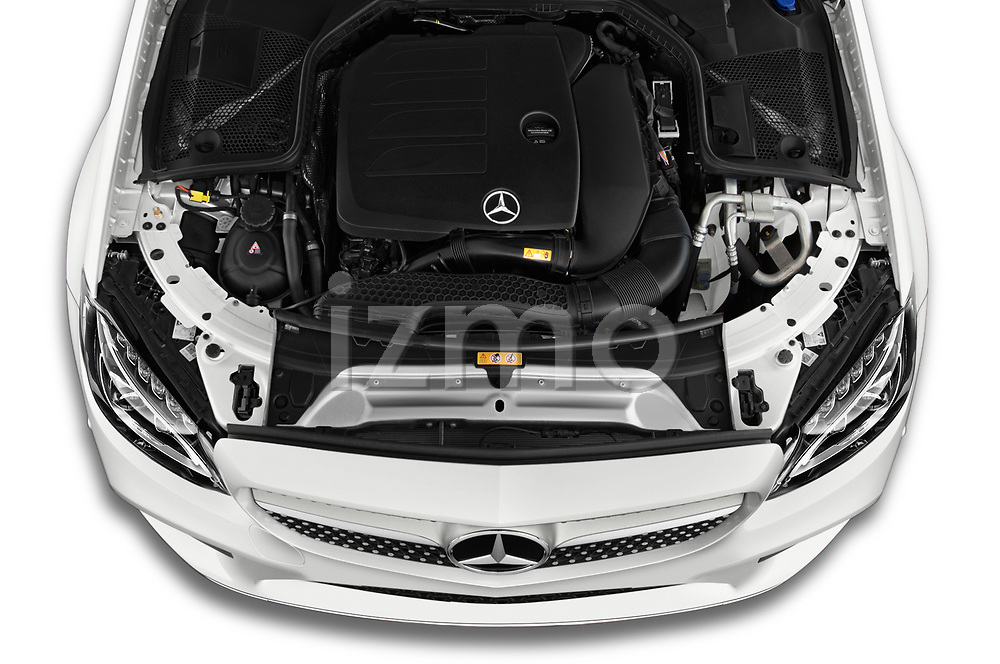 Car Stock 2019 Mercedes Benz C-Class AMG-Line 2 Door Coupe Engine  high angle detail view