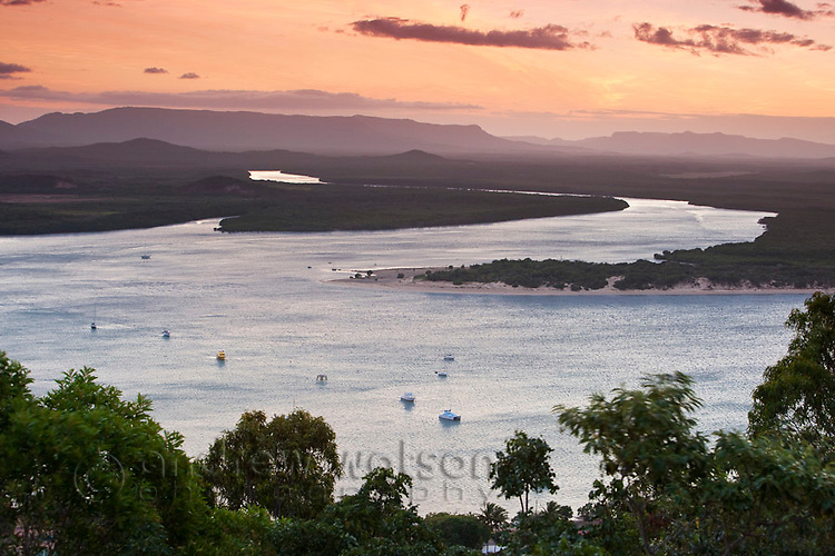 View across Endeavour River from Grassy Hill.  Cooktown, Queensland, Australia