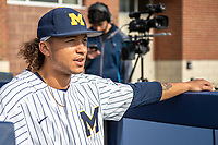 Michigan Wolverines outfielder Jordan Brewer (22) before the NCAA baseball game against the Eastern Michigan Eagles on May 8, 2019 at Ray Fisher Stadium in Ann Arbor, Michigan. Michigan defeated Eastern Michigan 10-1. (Andrew Woolley/Four Seam Images)