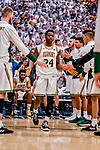 16 March 2019: University of Vermont Catamount Guard Ben Shungu, a Redshirt Sophomore from Burlington, VT, is introduced prior to facing the UMBC Retrievers in the America East Championship Game at Patrick Gymnasium in Burlington, Vermont. The Catamounts defeated the Retrievers 66-49, avenging their loss against the same team in last years' Championship Game. Mandatory Credit: Ed Wolfstein Photo *** RAW (NEF) Image File Available ***