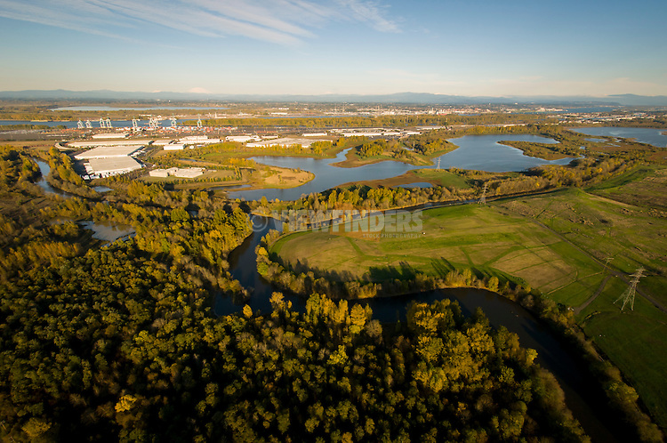 Aerial of Smith and Bybee lakes wildlife area.