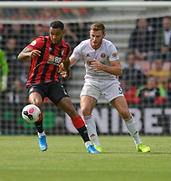 Sheffield United's Jack O'Connell (left) vies for possession with Bournemouth's Joshua King (right) <br /> <br /> Photographer David Horton/CameraSport<br /> <br /> The Premier League - Bournemouth v Sheffield United - Saturday 10th August 2019 - Vitality Stadium - Bournemouth<br /> <br /> World Copyright © 2019 CameraSport. All rights reserved. 43 Linden Ave. Countesthorpe. Leicester. England. LE8 5PG - Tel: +44 (0) 116 277 4147 - admin@camerasport.com - www.camerasport.com