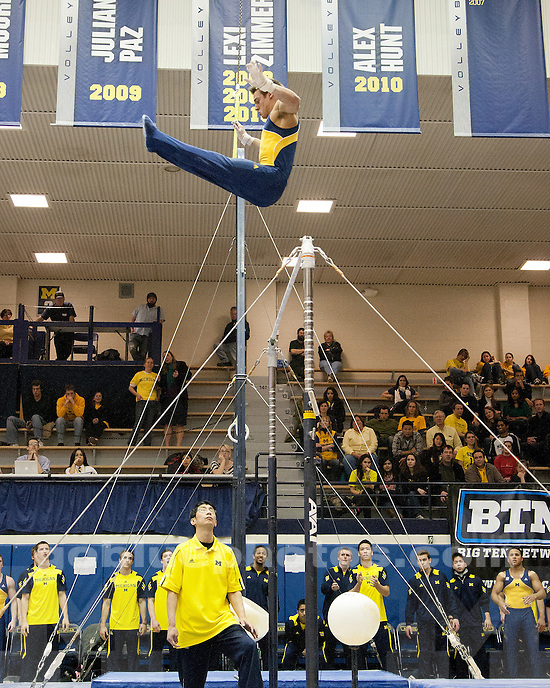 The University of Michigan men's gymnastics team (345.700) beat Ohio State (334.200) and SUNY-Brockport (275.700) at Cliff Keen Arena in Ann Arbor, Mich., on February 18, 2012.