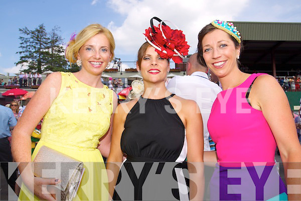 Grace O'Connor Glenbeigh, Julianne McGillycuddy, Cahersiveen and Nora Golden, Kells pictured at Killarney Races ladies day on Thursday.