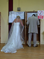 05/06/2009.Breeda & Elliot Morgan vote in Virgin Mary School on Shangan Road after just getting Married in Our Lady of Victories Church, Ballymun, Dublin..Photo: Gareth Chaney Collins