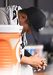 Masahiro Tanaka (Yankees),<br /> APRIL 2, 2016 - MLB :<br /> Masahiro Tanaka of the New York Yankees looks dejected in the dugout after being pulled in the third inning during the opening day of the Major League Baseball game against the Tampa Bay Rays at Tropicana Field in St. Petersburg, Florida, United States. (Photo by AFLO)
