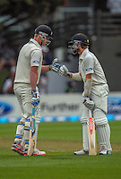 Jimmy Neesham (left) bumps fists with Kane Williamson during day one of the 2nd cricket test match between the New Zealand Black Caps and Sri Lanka at the Hawkins Basin Reserve, Wellington, New Zealand on Saturday, 3 February 2015. Photo: Dave Lintott / lintottphoto.co.nz