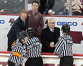 Jamie Koharski, Peter Schlittenhardt, Greg Brown (BC - Associate Head Coach), Brian Hurley (BC - Student Manager), Jerry York (BC - Head Coach), Kevin Briganti - The Boston College Eagles defeated the University of Notre Dame Fighting Irish 6-4 (EN) on Saturday, January 28, 2017, at Kelley Rink in Conte Forum in Chestnut Hill, Massachusetts.The Boston College Eagles defeated the University of Notre Dame Fighting Irish 6-4 (EN) on Saturday, January 28, 2017, at Kelley Rink in Conte Forum in Chestnut Hill, Massachusetts.