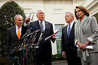 United States House Majority Leader Steny Hoyer (Democrat of Maryland) speaks to reporters after the meeting with US President Donald J. Trump that resulted in his walking out of the meeting on the government shutdown, at the White House, in Washington, D.C., January 9, 2019.  Standing behind the Leader Hoyer, from left to right: US Senate Minority Leader Chuck Schumer (Democrat of New York), US Senator Dick Durbin (Republican of Illinois), and Speaker of the US House of Representatives Nancy Pelosi (Democrat of California). Photo Credit: Martin H. Simon/CNP/AdMedia