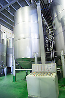 Fermentation tanks. Vallformosa, Vilobi, Penedes, Catalonia, Spain