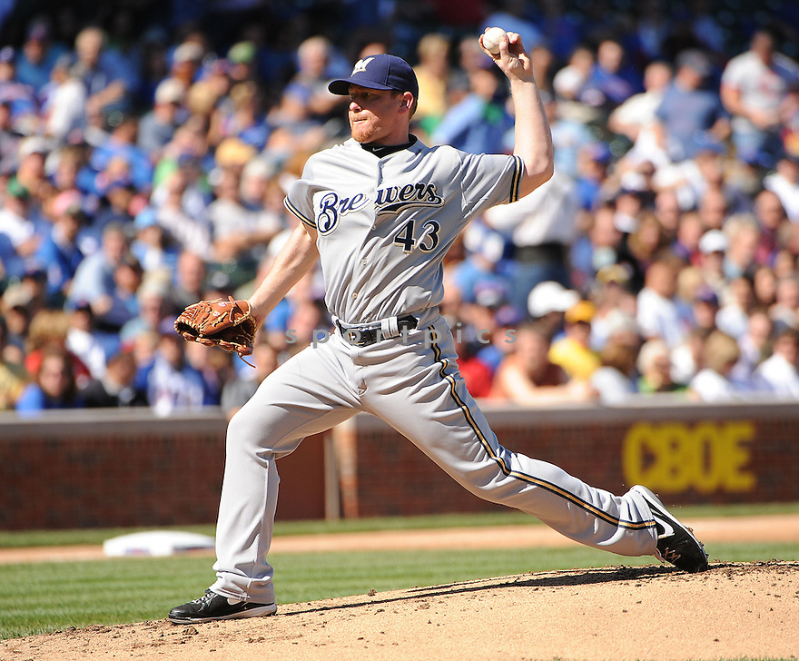 RANDY WOLF, of the Milwaukee Brewers in action during the Brewers game against the Chicago Cubs on September 21, 2011 at Wrigley Field in Chicago, IL. The Cubs beat the Brewers 7-1.