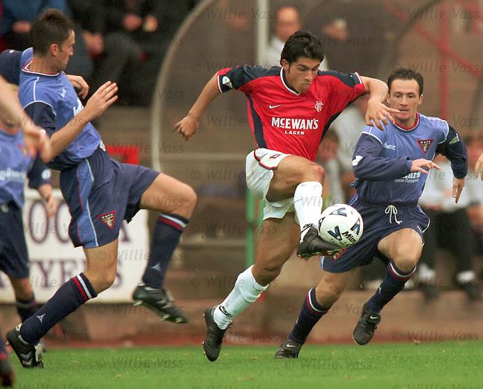 Want away Ranger Rino Gattuso takes the ball past the Pars defence season 1998-99