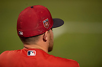 An unidentified Los Angeles Angels player during a Minor League Spring Training game against the Milwaukee Brewers at Tempe Diablo Stadium on March 29, 2018 in Tempe, Arizona. (Zachary Lucy/Four Seam Images)