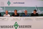 14.06.2019, Wohninvest Weserstadion, Bremen, GER, 1.FBL, Werder Bremen Partnerschaft mit Wohninvest, <br /> <br /> Werder Bremen hat die Namensrecht für 10 Jahre an die Wohninvest in Stuttgart verkauft. Das Stadiuon wird künftig wohninvest Weserstadion heißen<br /> im Bild<br /> <br /> Heinz-Günther / Guenther Zobel (BWS Geschaeftsfuehrer)<br /> Klaus Filbry (Vorsitzender der Geschäftsführung / Kaufmännischer Geschäftsführer SV Werder Bremen)<br /> Harald Panzer ( Chief Exceutive Officer)<br /> Jens Zimmermann ( Sprecher wohninvest-Gruppe)<br /> <br /> Foto © nordphoto / Kokenge