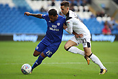 30th September 2017, Cardiff City Stadium, Cardiff, Wales; EFL Championship football, Cardiff City versus Derby County; Nathaniel Mendez-Laing of Cardiff City uses his strength to hold off Tom Lawrence of Derby County
