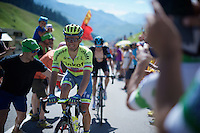 Rafal Majka (POL/Tinkoff) crossing the last mountain climb of the day smiling; the Col de Peyresourde (1569m/7.1km at 7.8%) as he will become the new polka dot wearer at the end of the stage.<br />  <br /> stage 8: Pau - Bagnères-de-Luchon, 184km<br /> 103rd Tour de France 2016