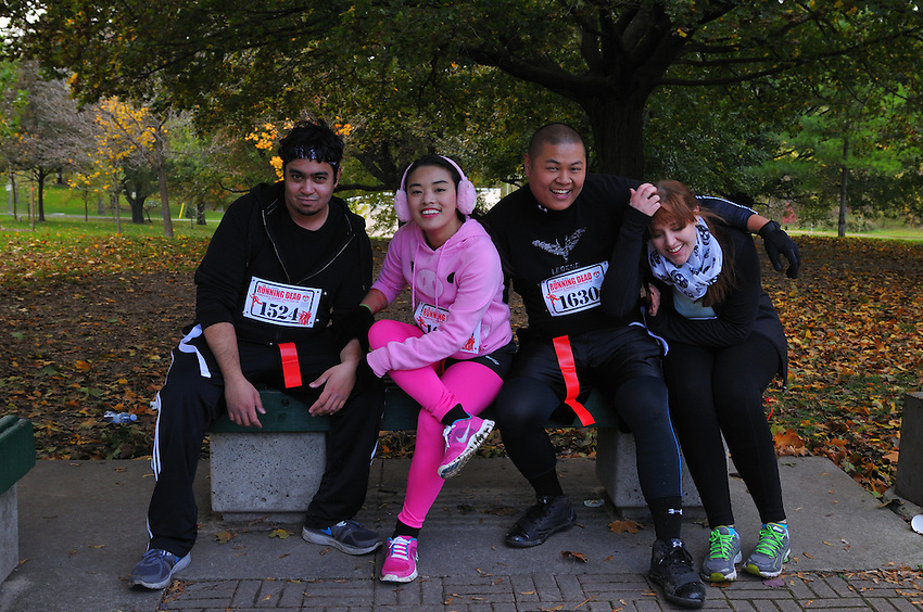 """Toronto's Inaugural """"The Running Dead"""" Infected 5K Event, Sunday October 27, 2013, in conjunction with The Toronto After Dark Film Festival, Metropolis Agencies and The Office Pub, partial event proceeds in support of Heart & Stroke Foundation."""