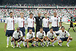 24 June 2007:  United States starting eleven.  Front row (l to r): DaMarcus Beasley, Landon Donovan, Jonathan Bornstein, Benny Feilhaber, Pablo Mastroeni.  Back row (l to r): Clint Dempsey, Jonathan Spector, Brian Ching, Tim Howard, Carlos Bocanegra, Oguchi Onyewu. The United States Men's National Team defeated the national team of Mexico 2-1 in the CONCACAF Gold Cup Final at Soldier Field in Chicago, Illinois.