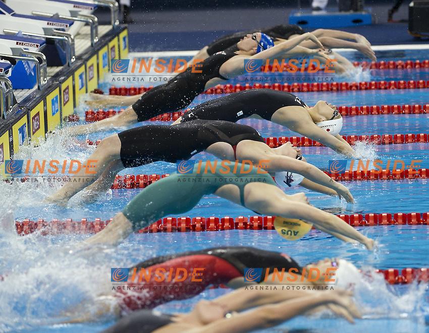 Shanghai , China (CHN) 16-31 July 2001.XIV FINA Swimming World Championships.day 10 Swimming.Semi Final 100 Back stroke women .lane 4 russell CAN.lane 5 Terakawa JPN..Photo Insidefoto / Giorgio Scala