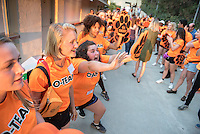 Members of the O-Team shout, scream, cheer, dance and sing as they welcome incoming Occidental College students (the class of 2020) and their families to the Orientation welcome at the Remsen Bird Hillside Theater (the Greek Bowl) on Aug. 25, 2016.<br /> (Photo by Marc Campos, Occidental College Photographer)