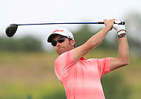 Agustin Domingo (ESP) on the 1st tee during Round 1 of the Challenge de Madrid, a Challenge  Tour event in El Encin Golf Club, Madrid on Wednesday 22nd April 2015.<br /> Picture:  Thos Caffrey / www.golffile.ie