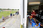 A young Ossett fan is tempted by sweets in the club shop. Yorkshire v Parishes of Jersey, CONIFA Heritage Cup, Ingfield Stadium, Ossett. Yorkshire's first competitive game. The Yorkshire International Football Association was formed in 2017 and accepted by CONIFA in 2018. Their first competative fixture saw them host Parishes of Jersey in the Heritage Cup at Ingfield stadium in Ossett. Yorkshire won 1-0 with a 93 minute goal in front of 521 people.